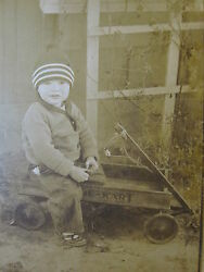 Vintage Antique Toy Wagon Cart White Co. Great Cute Young Boy Old Photo