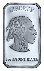 1 oz .999 Fine Silver Buffalo Liberty Bar Sealed in Plastic SKU40117 $31.41