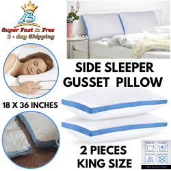 King Size Big Gusset Pillows For Bed Comfort Neck Support Side Back Sleepers 2pc