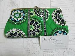Vera Bradley CUPCAKES GREEN Wallet DOUBLE KISSLOCK Clutch for PURSE Tote  NWOT