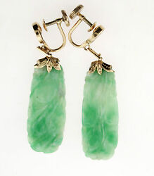 Elegant Natural Green Carved Jade Earring In 14k Yellow Gold
