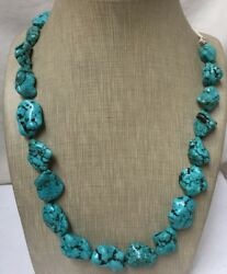 Bold Gradual Turquoise Nugget Necklace//18plus 10 Rope Lengthw158a-w4.2