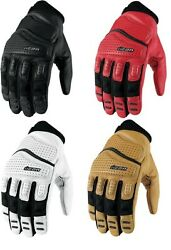 Icon Super Duty 2 Gloves Motorcycle Riding Black White Tan Red Free Exchanges