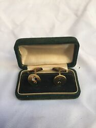 Magnificent Pr Of English 1900 18-14k Enameled Gold Cufflinks With Original Box