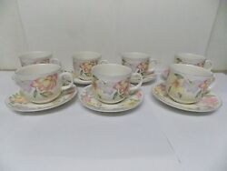 1991 Royal Doulton Expressions English China Blooms Cup And Saucers Set Of 7