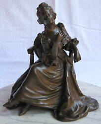 Magnificent 19th Century French Bronze Figurine Of A Woman In Chair