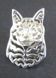 Maine Coon Cat Brooch Or Pin - Fashion Jewellery - Silver Plated, Stud Back