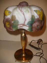 Antique Pairpoint Puffy Shade Butterfly Table Lamp Signed Base And Shade