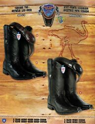 Wild West Menand039s Square Toe Ostrich Leg/deer Cowboy Western Boots Diff.colors