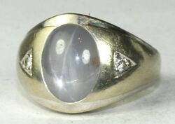 Vintage 1960and039s Mens 14k White Gold Large Star Sapphire Diamond Ring Size 8 16 Gr