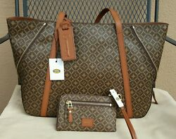 NWT FOSSIL AVA SHOPPER MULTI BROWN WITH MATCHING WRISTLET WALLET