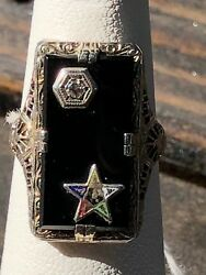 Vintage Order Of The Eastern Star Onyx And Diamond 14kt White Gold Ring Sz 4
