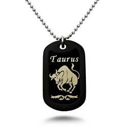 Taurus Zodiac Sign Laser Engraved Aluminum Dog Tag Necklace 24 Inches