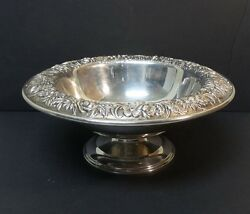 S Kirk And Son Repousse Sterling Silver Pedestal Centerpiece Bowl, Monogram