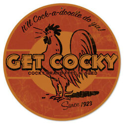 Get Cocky Brand Rooster Feed N Seed Vintage Chicken Farm Round Metal Sign 14