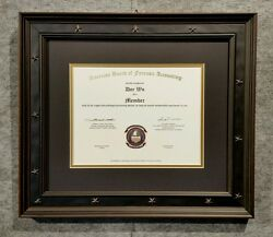 Custom Made Matted Black Or Navy Blue W/gold Diploma Certificate Star Frame 2.5