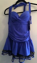 Nwt Jinhong Sports Xxl L Cobalt Blue Ruched Swim Suit Swim Dress Sheer Ruffle