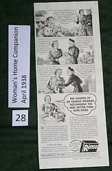 Vintage Ads For Rinso Soap And Imperial Washable Wall Paper, 1938, Wringer Washer