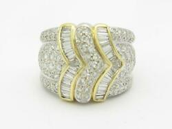 14k Two Tone Gold & Diamonds Baguette & Pave Design Wide Band Ring Size 7 Gift
