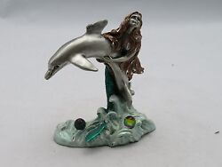 New Fantasy Mythical And Magic Masterworks Fine Pewter Mermaid And Dolphin