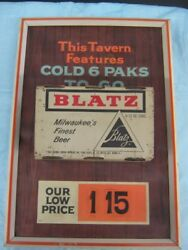 Rare 1960's Blatz 3d Can Sign 6 Paks To Go 1.15 With Real Air Filled Flat Tops
