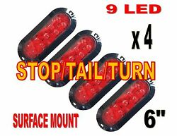 Red 6 Oval Stop Turn Tail Lights Four Each 9 Led Surface Mount