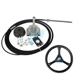 15ft Single Turbine Rotary Outboard Steering System W/ Boat Steering Cable Wheel