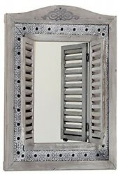 The Americana Rustic Farmhouse Mirror With Shutters, Vintage Gray, Distressed X
