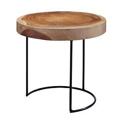 French Farmhouse Mid Century Modern Wood Slab And Iron Accent End Table New