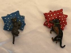 Magnificent 1900 Two Piece Austrian Enameled Bronze Dog And Cat Paper Weights