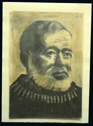 Ernest Hemingway Original Hand Drawing 1983 20and039 X 14and039