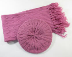 Eric Javits French Beret & Cable Knit Scarf Set -Color: Muave- Retail Value $225
