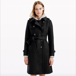 New J.crew Icon Trench Coat In Italian Wool Cashmere Black Size 000 365