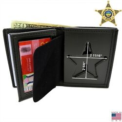 Perfect Fit Ohio Sheriff 5 Pt Star Badge Wallet Bifold Leather Mens Police 104