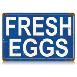 Fresh Eggs Vintage Chicken Farm Stand Distressed Blue Metal Sign 17.5 x 11.5