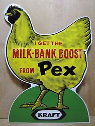 Vintage Farm Chicken Feed Seed Advertising Sign 'Milk-Bank Boost from Pex' Kraft