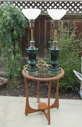 Beautiful Pair Of Vintage/antique Tall Green Glass Lamps