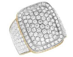 10k Yellow Gold Genuine Diamond Pillow Puff Rope Mens Pinky Square Dome Ring 4ct
