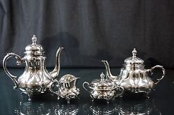 Vintage Mid Century Eugen Ferner Hand Chased Sterling Silver Tea And Coffee Set