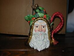 Fitz And Floyd Holiday Pine Santa Teapot - Retired