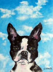 BOSTON TERRIER sky dog signed art PRINT 11x17 glossy animals impressionism gift