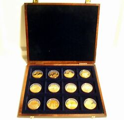 12 Gold Plated 1998 Ecu Medals In Wooden Case Austria Italy France Portugal....