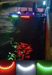 3x White Green Red Bow Led 1 Ft Submersible Navigation Light Stern Boat 12v Nav
