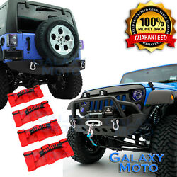 Stubby Front+Rear Bumper+Deluxe RED Roll Bar Grab Handle for 07-17 Jeep Wrangler