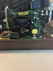 1953 Vintage Saxon Special Sewing Machine With Sewing Supplies And Kit