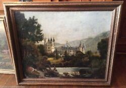 Antique Victorian European Landscape Oil Painting Great Old Castles And Fishermen