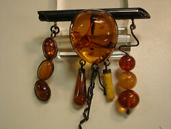 Vintage Genuine Baltic Amber / Sterling Silver Pin / Brooches / Pendant
