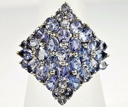 Womenand039s Luxury Natural Mined Tanzanite 7.25 Ct Cluster Ring 10k Solid White Gold
