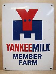 Vintage Yankee Milk Member Farm Advertising Sign Feed Seed Store Red White Blue