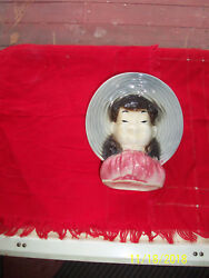 Vintage Royal Copley Oriental Asian Chinese Girl Wall/stands Pocket Head Vase